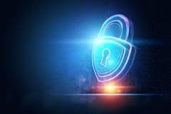 Fondo creativo, ultravioleta, cerradura del holograma El concepto de seguridad, caja fuerte, privacidad de datos, protecci?n de d fotos de archivo