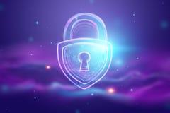 Fondo creativo, ultravioleta, cerradura del holograma El concepto de seguridad, caja fuerte, privacidad de datos, protecci?n de d imagen de archivo libre de regalías