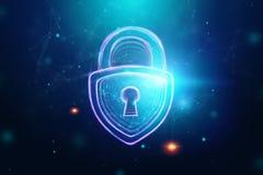 Fondo creativo, ultravioleta, cerradura del holograma El concepto de seguridad, caja fuerte, privacidad de datos, protecci?n de d foto de archivo