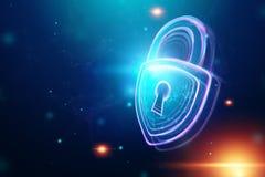 Fondo creativo, ultravioleta, cerradura del holograma El concepto de seguridad, caja fuerte, privacidad de datos, protecci?n de d fotos de archivo libres de regalías