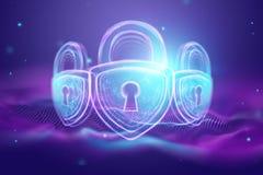 Fondo creativo, ultravioleta, cerradura del holograma El concepto de seguridad, caja fuerte, privacidad de datos, protecci?n de d fotografía de archivo