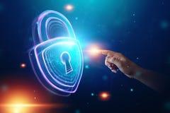 Fondo creativo, ultravioleta, mano masculina y cerradura del holograma El concepto de seguridad, caja fuerte, privacidad de datos foto de archivo libre de regalías