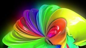 Fondo creativo variopinto dell'estratto con la corrente delle pitture ad olio miste che formano un nastro dei colori dell'arcobal royalty illustrazione gratis