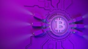Fondo cripto dell'azienda agricola di estrazione mineraria di valuta di Bitcoin con lo spazio della copia Illustrazione finanziar Fotografie Stock Libere da Diritti