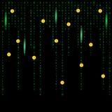Fondo cripto della matrice del bitcoin di Digital Fotografia Stock Libera da Diritti