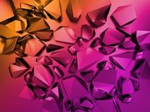 fondo cristalino de la fractura del extracto 3d, papel pintado rosado de la moda del oro, colores vivos ilustración del vector