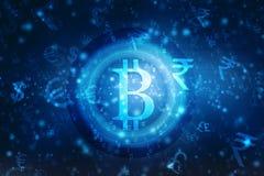 Fondo Crypto abstracto global de la tecnología de Blockchain de la moneda de Bitcoin libre illustration