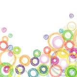 Fondo cuadrado abstracto con los círculos coloreados Foto de archivo