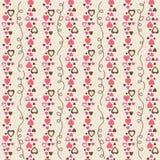 Fondo cuadrado beige con los corazones decorativos rosados de la tarjeta del día de San Valentín stock de ilustración