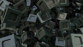 Fondo cubico del nero astratto 3d illustrazione di stock