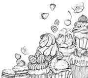 Fondo culinario con las magdalenas y el helado, blancos y negros ilustración del vector