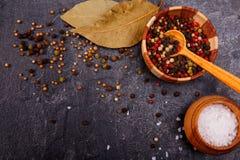 Fondo culinario con le foglie, le spezie ed il sale dell'alloro su un fondo concreto scuro Fotografie Stock