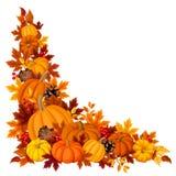 Fondo d'angolo con le zucche e le foglie di autunno Illustrazione di vettore Immagini Stock Libere da Diritti