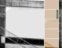 Fondo d'annata bianco del nero della striscia di pellicola di lerciume Fotografia Stock