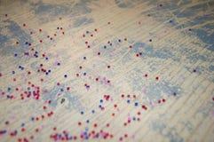 Fondo d'annata con delle le perle colorate multi Fotografia Stock