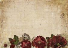 Fondo d'annata con i fiori di Borgogna immagine stock