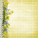 Fondo d'annata con i fiori di giallo della molla Fotografia Stock Libera da Diritti