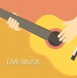 Fondo d'annata con il giocatore di chitarra Illustrazione di Stock