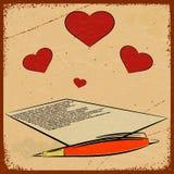 Fondo d'annata con l'immagine di una lettera di amore Fotografia Stock Libera da Diritti