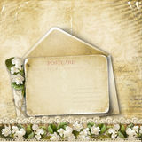 Fondo d'annata con la cartolina ed i fiori Immagini Stock