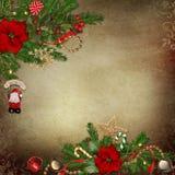Fondo d'annata con le belle decorazioni di Natale Fotografia Stock Libera da Diritti
