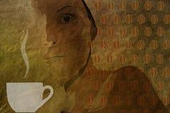Fondo d'annata con un modello dei chicchi di caffè e della tazza di caffè Fotografie Stock Libere da Diritti