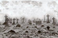 Fondo d'annata del cimitero Fotografia Stock