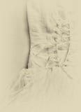 Fondo d'annata del corsetto del vestito da sposa Arco della stella blu con il nastro blu (involucro di regalo) su priorità bassa  Immagini Stock Libere da Diritti