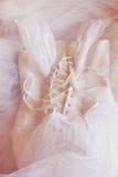 Fondo d'annata del corsetto del vestito da sposa Arco della stella blu con il nastro blu (involucro di regalo) su priorità bassa  Fotografie Stock Libere da Diritti