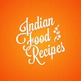 Fondo d'annata dell'iscrizione dell'alimento indiano Immagini Stock Libere da Diritti