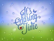 Fondo d'annata dell'iscrizione di tempo di primavera Fotografie Stock