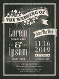 Fondo d'annata della carta dell'invito di nozze della lavagna Fotografia Stock Libera da Diritti