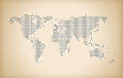 Fondo d'annata della mappa di mondo, mappa di mondo del dotedl, mappa alta tecnologia, Fotografia Stock