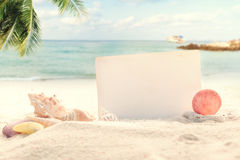 Fondo d'annata della spiaggia di estate Fotografia Stock Libera da Diritti
