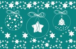 Fondo d'annata di Buon Natale con le palle e le stelle fotografia stock libera da diritti