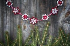 Fondo d'annata di Natale con i rami dell'abete Immagini Stock Libere da Diritti