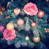 Fondo d'annata di notte di Natale Immagini Stock Libere da Diritti