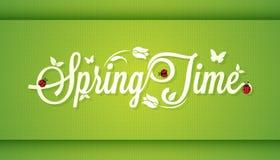 Fondo d'annata di progettazione di iscrizione di tempo di primavera Immagini Stock Libere da Diritti
