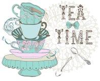 Fondo d'annata di tempo del tè di mattina Immagine Stock