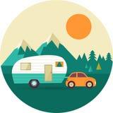 Fondo d'annata di vettore con la natura, foresta Immagini Stock
