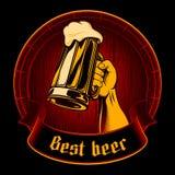Fondo d'annata Enrgaving del migliore di birra di vettore di vetro della tazza barilotto della schiuma Fotografia Stock Libera da Diritti