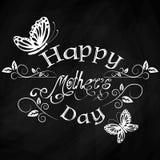 Fondo d'annata felice dell'iscrizione del giorno delle madri Immagine Stock