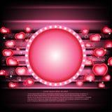 fondo d'ardore di giorno di biglietti di S. Valentino con i cuori e la struttura del cerchio Fotografia Stock