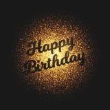 Fondo d'ardore dorato di vettore delle particelle di buon compleanno Fotografia Stock Libera da Diritti