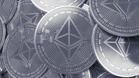 Fondo d'argento di concetto di estrazione mineraria di cryptocurrency di Ethereum Fotografie Stock Libere da Diritti