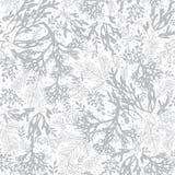 Fondo d'argento di Grey Seaweed Texture Seamless Pattern di vettore Grande per gray elegante Immagine Stock Libera da Diritti