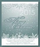 Fondo d'argento di Natale con i fiocchi di neve Fotografia Stock