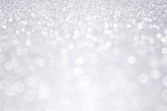 Fondo d'argento di Natale di inverno di scintillio Fotografia Stock