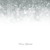 Fondo d'argento luminoso del bokeh di Natale Fotografia Stock