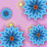 Fondo d'avanguardia floreale con i fiori blu royalty illustrazione gratis